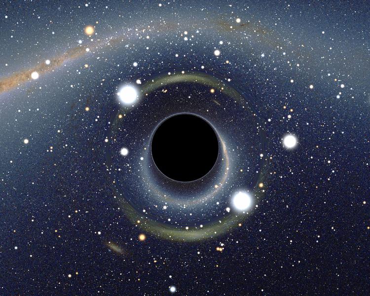 Simulated view of a black hole, via  Wikimedia Commons    (CC BY-SA 2.5)