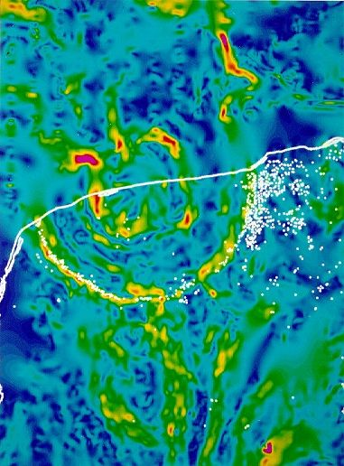 Gravity map of the Chicxulub Crater, via  Wikimedia Commons