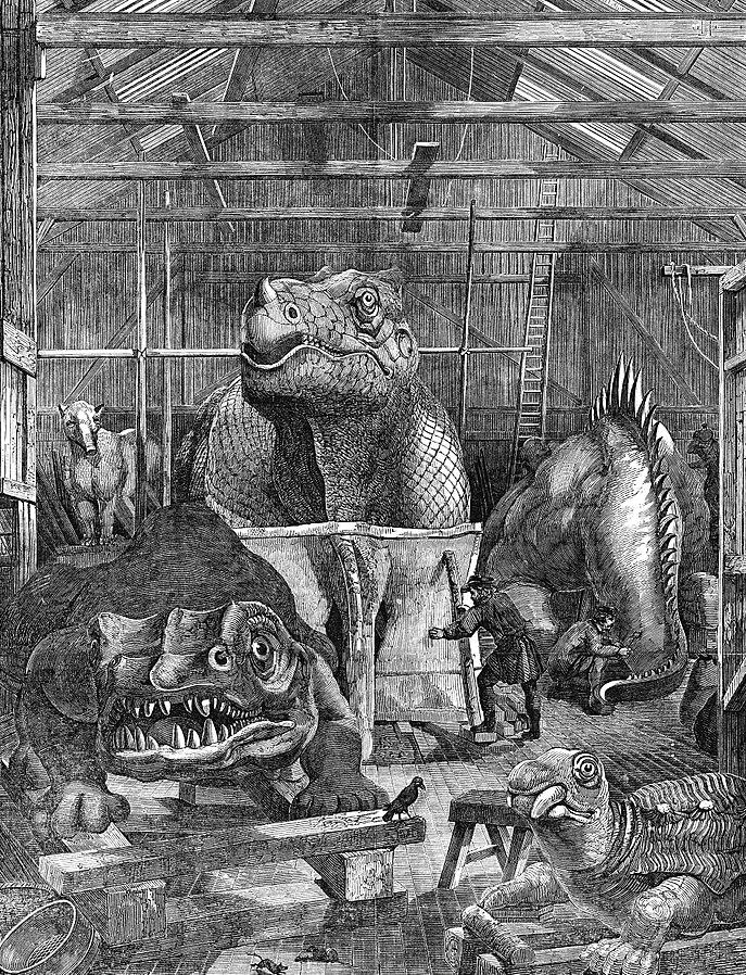 Owen's dinosaur statues under construction, via  Wikimedia Commons