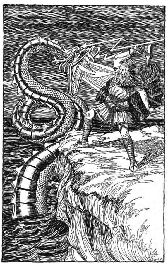 Thor facing Jormungandr, via  Wikimedia Commons