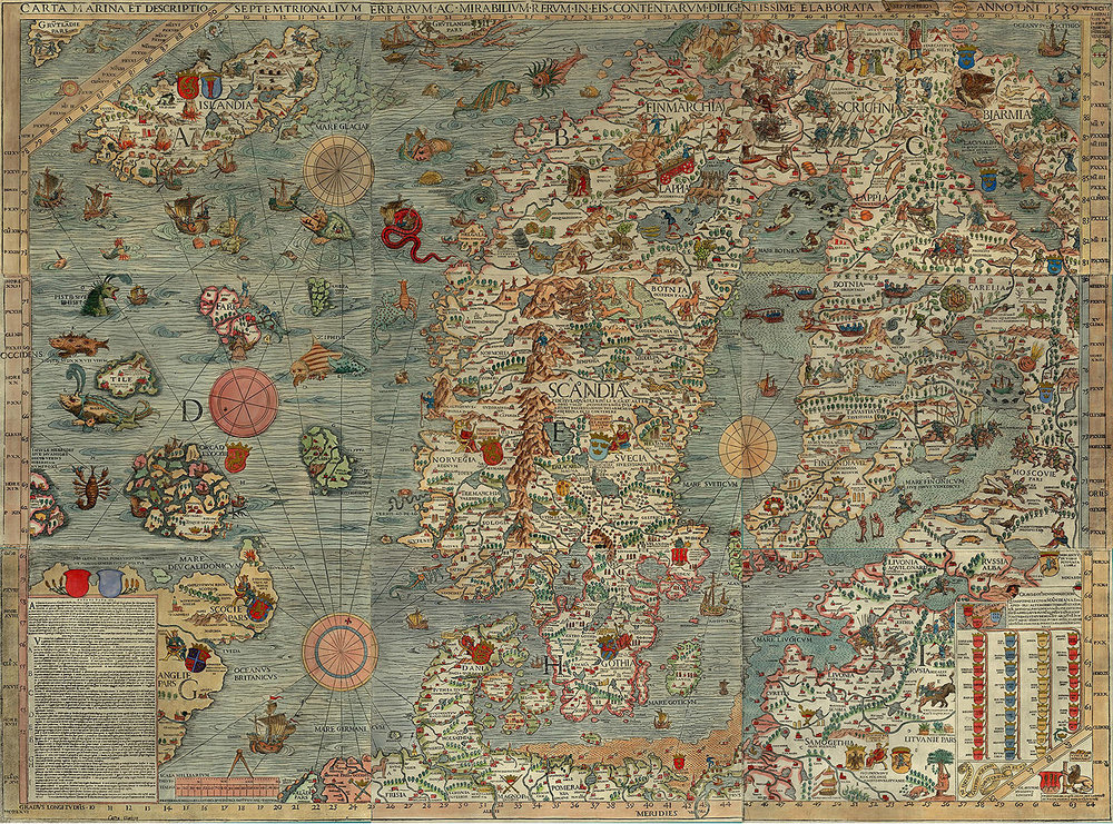 Olaus Magnus's  Carta Marina , via  Wikimedia Commons