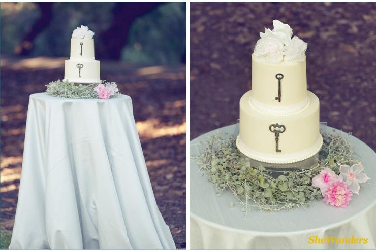 wedding cake, vintage keys, shewanders photography, san diego wedding photography
