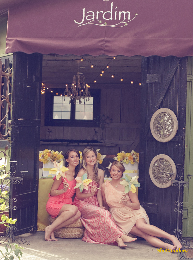 three ladies in pink, in front of Jardim, Shewanders Wedding Photography, San Diego Wedding Photography