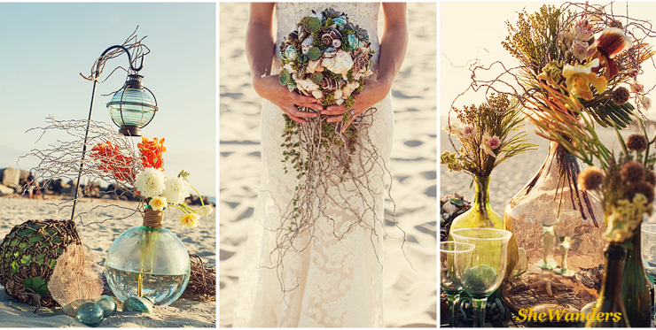flowers on beach, bride on beach with shell flowers, table beach set up, San Diego Wedding Photography, SheWanders Wedding Photography
