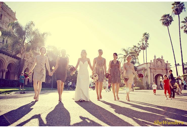bridesmaids, balboa parksan diego wedding photography, shewanders photography