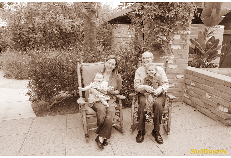 kids in rocking chair with grandma and grandpa, San Diego Wedding Photography Studio, SheWanders Wedding Photography