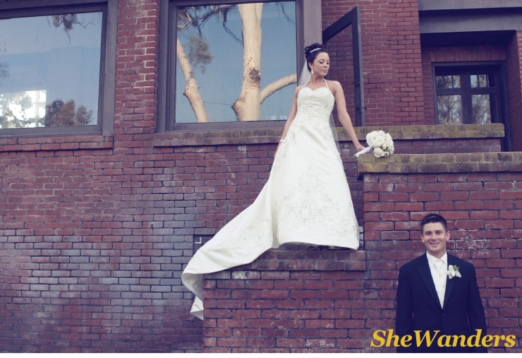 bride and groom in front of brick building, San Diego Wedding Photography, Shewanders wedding photography