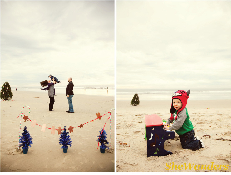 christmas on beach, christmas family, boy in christmas clothes, San Diego Wedding Photography, SheWanders Wedding Photography
