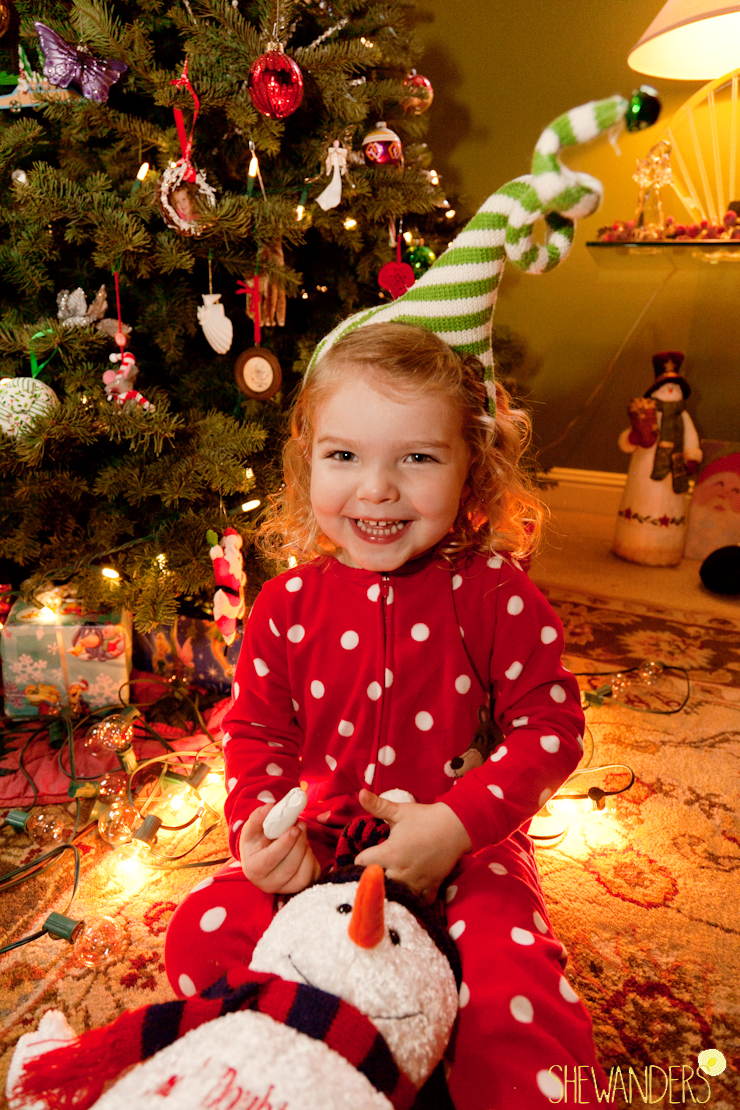 shewanders photography, san diego family photograhy, cute girl next to christmas tree in christmas pajamas, with snowman