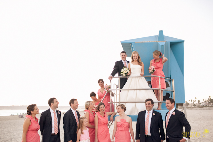 The Del san diego wedding photography, shewanders photography, jcrew coral dresses,