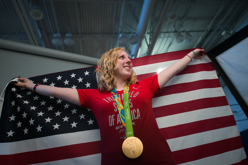 Morgantown, W.Va., August 17, 2016: Olympic gold medalist Ginny Thrasher, 19, a sophomore at West Virginia University, poses as she gets photographed by the university photographer during a photo shoot on Wednesday, Aug. 17, 2016. Thrasher won the United State's first gold medal of the Rio Olympics, competing in the women's 10-meter air rifle event.