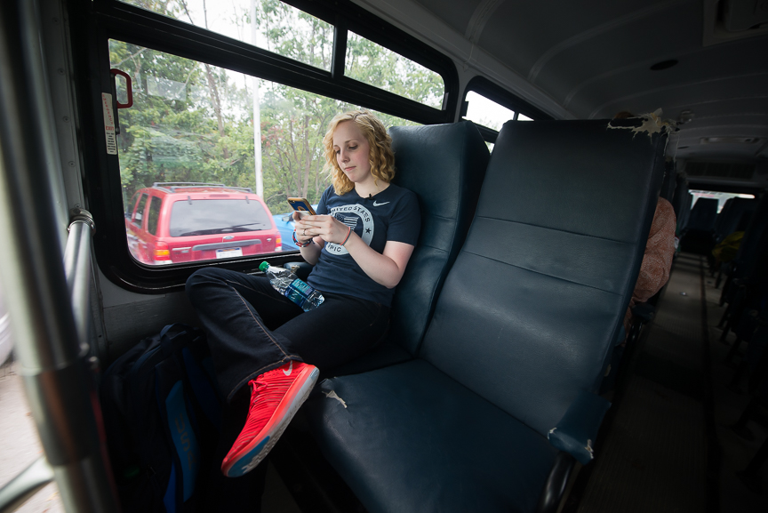 Ginny rides on a bus as she goes to classes on her first day of instruction for the fall semester at WVU on Wednesday, Aug. 17, 2016.