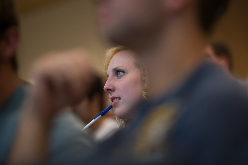 Ginny listens to her physics professor speak on her first day of classes in the fall semester on Wednesday, Aug. 17, 2016.