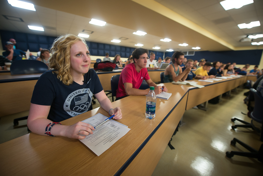 Ginny sits in an Intro to Electrical Engineering class on her first day of instruction for the fall semester at WVU on Wednesday, Aug. 17, 2016.