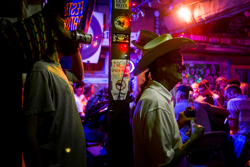 A man in a cowboy hat listens to musicians play at a zydeco jam session at the Blue Moon Saloon in Lafayette, La on Wednesday, Oct. 12, 2016.