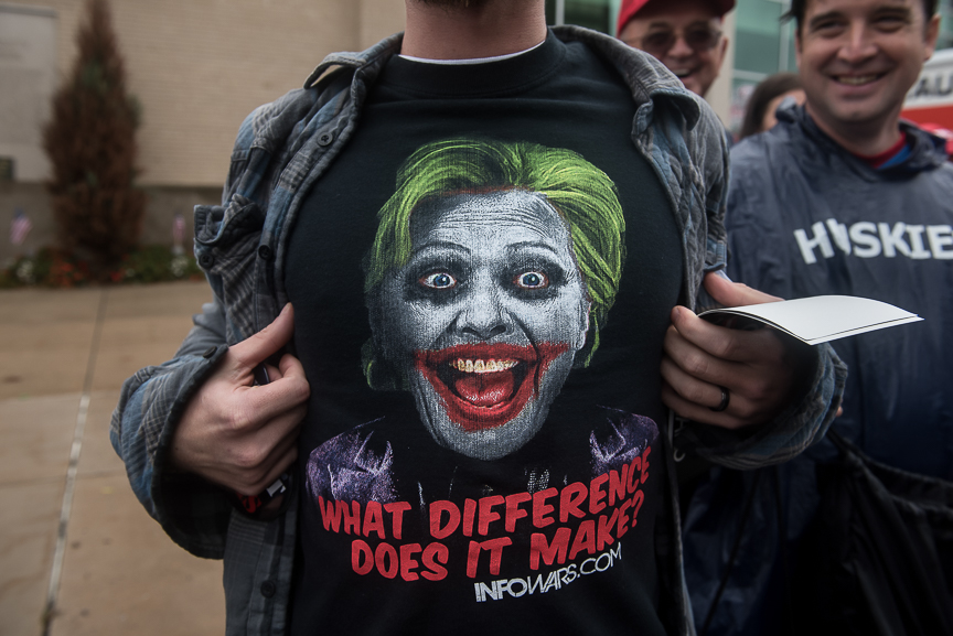 A Trump supporter shows off his t-shirt as he stands in line outside of the Cambria County War Memorial Arena prior to a Donald Trump campaign stop on October 21, 2016 in Johnstown, Pennsylvania.