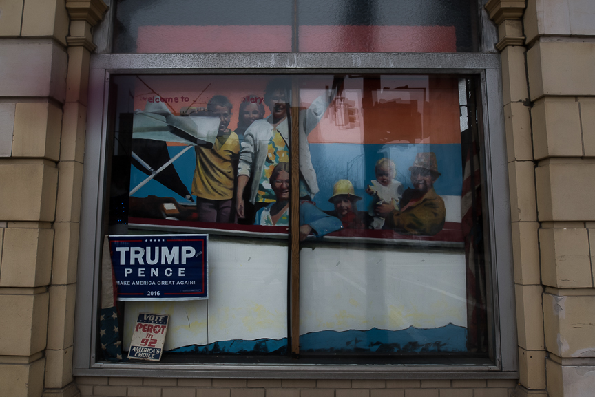A Trump sign sits in a window in Youngstown, Ohio on Wednesday, Nov. 23, 2016.