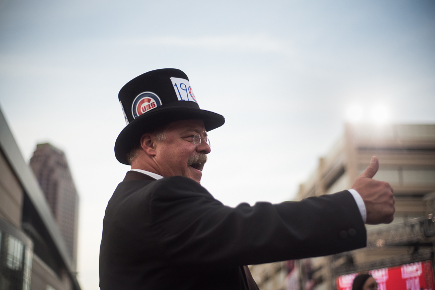 Joe Wiegand of Colorado Springs, Colo., a Theodore Roosevelt impersonator and self-proclaimed Cubs fan, greets fans outside of Progressive Field prior to game 6 of the World Series on November 1, 2016 in Cleveland, Ohio.