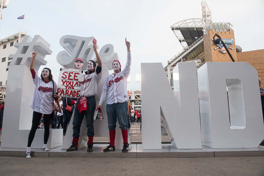 (left to right) Casey Weinfurtner, Eddie Weinfurtner and Jim Weinfurtner cheer on the Indians outside of Progressive Field prior to game 6 of the World Series on November 1, 2016 in Cleveland, Ohio.