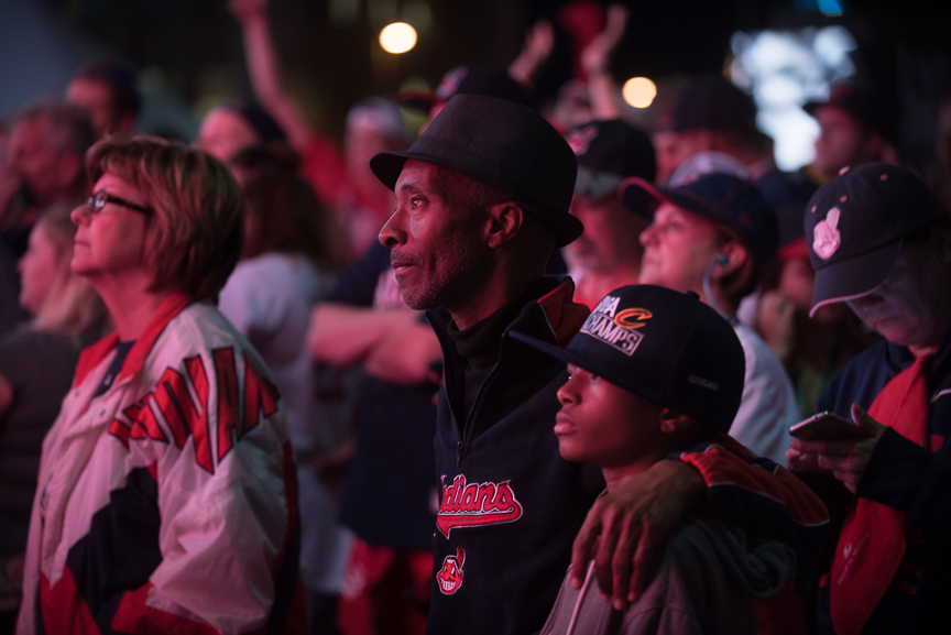 Cleveland Indian fans watch game 6 of the World Series on a big screen outside of Progressive Field on November 1, 2016 in Cleveland, Ohio.