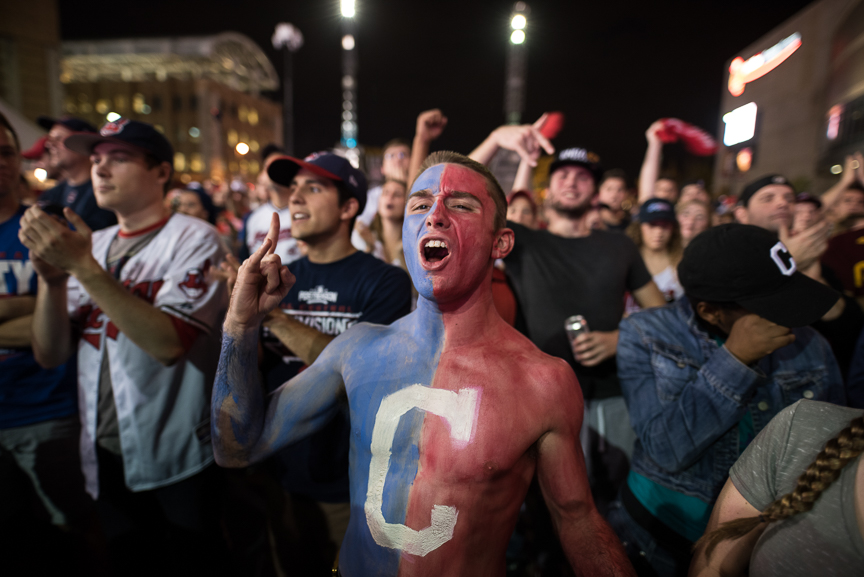 Cam Lathem, 21, of Ashville, Ohio cheers on the Indians outside of Progressive Field during game 7 of the World Series between the Cleveland Indians and the Chicago Cubs on November 2, 2016 in Cleveland, Ohio.