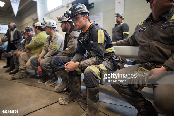 SYCAMORE, PA - APRIL 13: Coal miner Jaden Fredrickson, 26, of Cheat Lake, West Virginia, waits for the arrival of U.S. Environmental Protection Agency Administrator Scott Pruitt who visited the Harvey Mine on April 13, 2017 in Sycamore, Pennsylvania. The Harvey Mine, owned by CNX Coal Resources, is part of the largest underground mining complexes in the United States. (Photo by Justin Merriman/Getty Images)