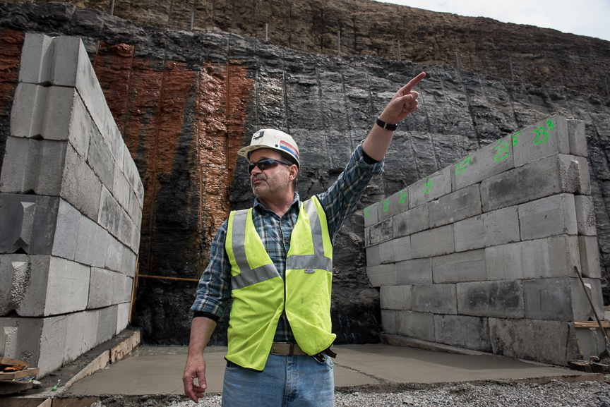 Robert Bottegal, head engineer of the Acosta Deep Mine for Corsa Coal, stands near the future drift entrance off the high wall of the new mine on May 18, 2017 in Friedens, Somerset, Pa. The new mine, which is expected to open early June, will create 70 new jobs and should produce 400,000 tons of metallurgical coal a year. Justin Merriman for The Wall Street Journal