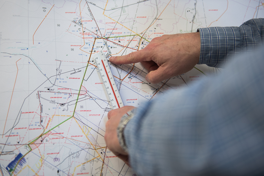 Robert Bottegal points to a map showing the Acosta Deep Mine in Friedens, Somerset County, Pa., on March 22, 2017. Justin Merriman | for the Financial Times