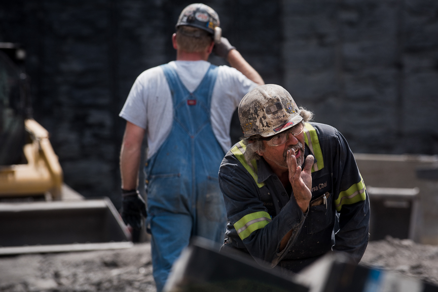 Coal Miner Russ Lambert, 61, of Berlin, Pa., who has been mining for over 37 years, yells to another miner as they work on the construction of Corsa Coal's new Acosta Deep Mine on May 18, 2017 in Friedens,Somerset, Pa.  Justin Merriman  for The Wall Street Journal