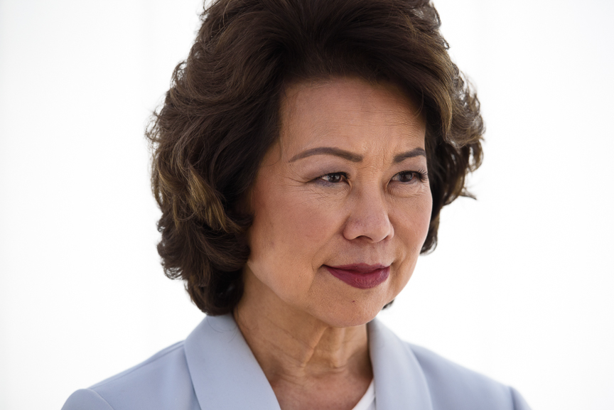 Secretary of Transportation Elaine Chao poses for a portrait at the University of Michigan's North Campus' MCity, a full-scale simulated city test course for autonomous vehicles, on Tuesday, Sept. 12, 2017 in Ann Arbor, Michigan.