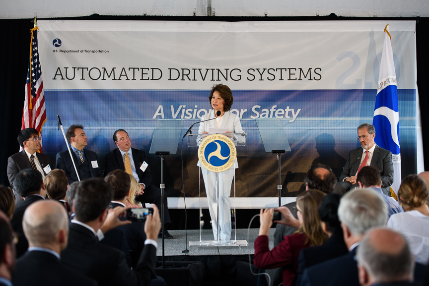 Secretary of Transportation Elaine Chao speaks at the University of Michigan's North Campus' MCity, a full-scale simulated city test course for autonomous vehicles, on Tuesday, Sept. 12, 2017 in Ann Arbor, Michigan.