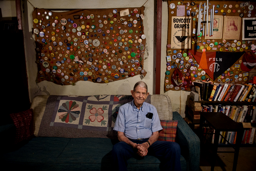 Staughton Lynd, 87, a formidable figure in the '60s social justice movement, sits in the basement of his Niles, Ohio home on Sept. 6, 2017.  Lynd, the Manhattan-born academic from Harvard, immediately became part of the fabric in the working-class community as a labor lawyer after Black Monday, the day when Youngstown Sheet and Tube abruptly furloughed 5,000 workers in one day.  Read more about Lynd and Black Monday in the  New York Post .
