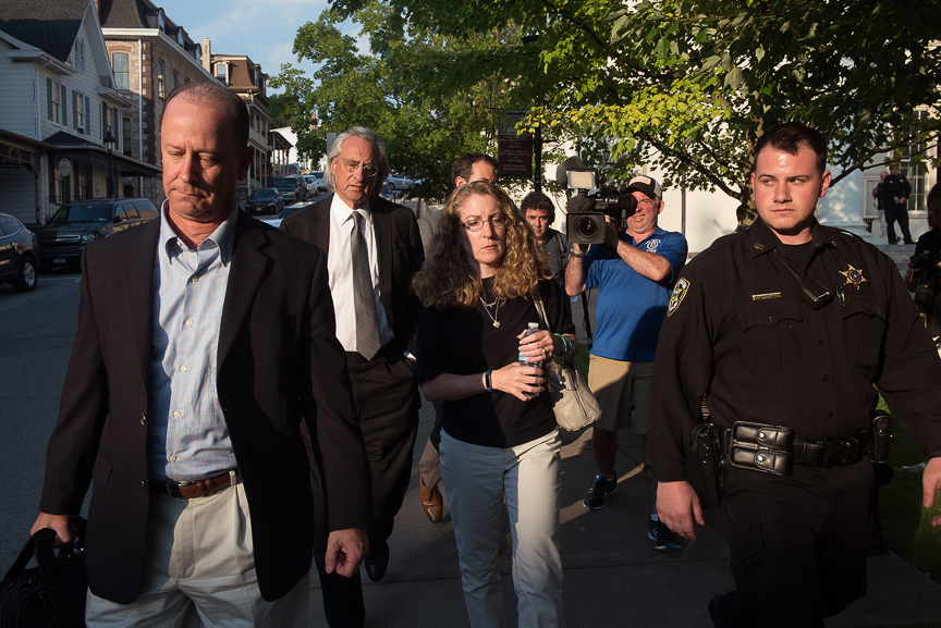 Jim and Evelyn Piazza, the parents of Timothy Piazza, the 19-year-old pledge who died following a Feb. 2 event at the Beta Theta Pi frat house at Penn State University, leave the Centre County courthouse following a preliminary hearing on Monday Morning, June 12, 2017 in Bellefonte, Pa.