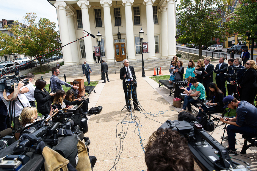 Tom Kline, the attorney for Jim and Evelyn Piazza, the parents of Timothy Piazza, 19, who died following a Feb. 2 pledge event at the Beta Theta Pi frat house at Penn State University, speaks with media in front of the Centre County courthouse after the verdict in the fraternity members' preliminary hearing on Sept. 1, 2017 in Bellefonte, Pa.