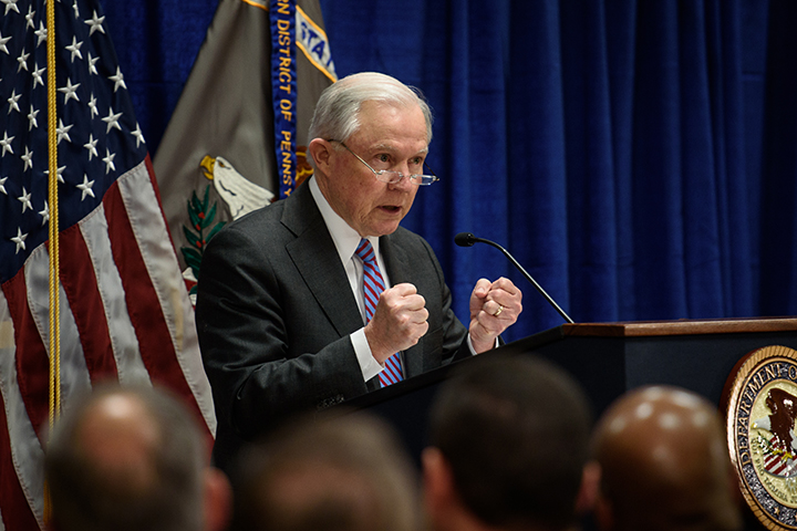 "PITTSBURGH, PA-JANUARY 29: U.S. Attorney General Jeff Sessions speaks at the federal courthouse on Grant Street on Monday, January 29, 2018 in Downtown, Pittsburgh. Sessions stopped at the U.S. attorney's office as part of his nationwide tour of U.S. attorney's offices. During the visit Sessions announced the development of J-CODE, which stands for the Joint Criminal Opioid Darknet Enforcement team, a new approach to combating ""dark web"" opioid and drug networks."