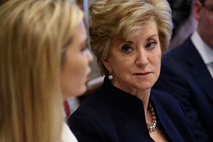 MT. LEBANON, PA-FEBRUARY 13:  Administrator of the Small Business Administration Linda McMahon listens to Advisor to the President Ivanka Trump as they meet with small business owners in a roundtable discussion on Tuesday, February 13, 2018 at Potomac Mineral Group in Mt. Lebanon, Pa.