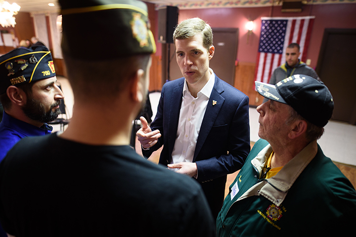 Conor Lamb speaks with veterans at a campaign event at the American Legion Post 902 on Saturday, January 13, 2017 in Houston, Pa.