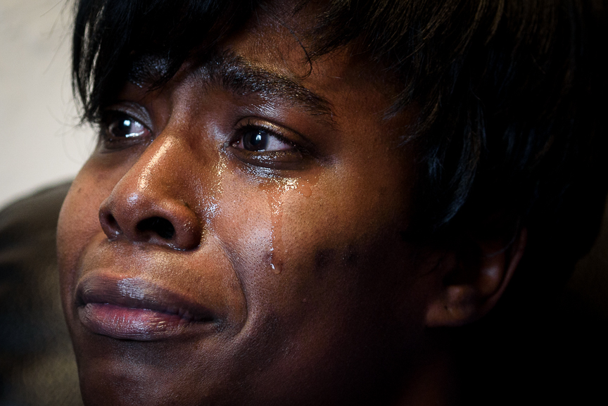 Darlene Scott, 33, weeps as she talks about the loss of her 23-month-old daughter, Nyia, at her home on Feb. 25, 2018, in Duquesne, Pa. 