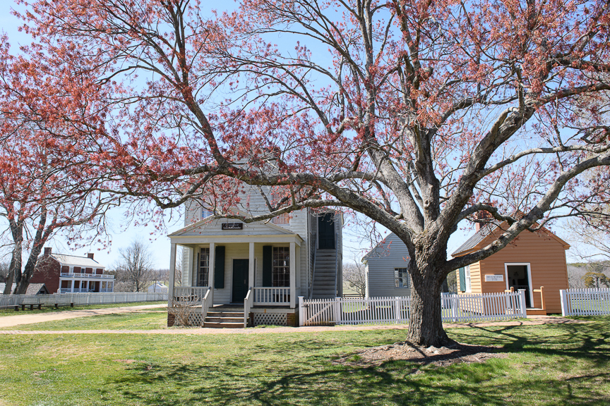 Meeks Store, constructed in 1852, sits beneath a tree at Appomattox Court House National Park on Monday, March 26, 2018 in Appomattox, Virginia.