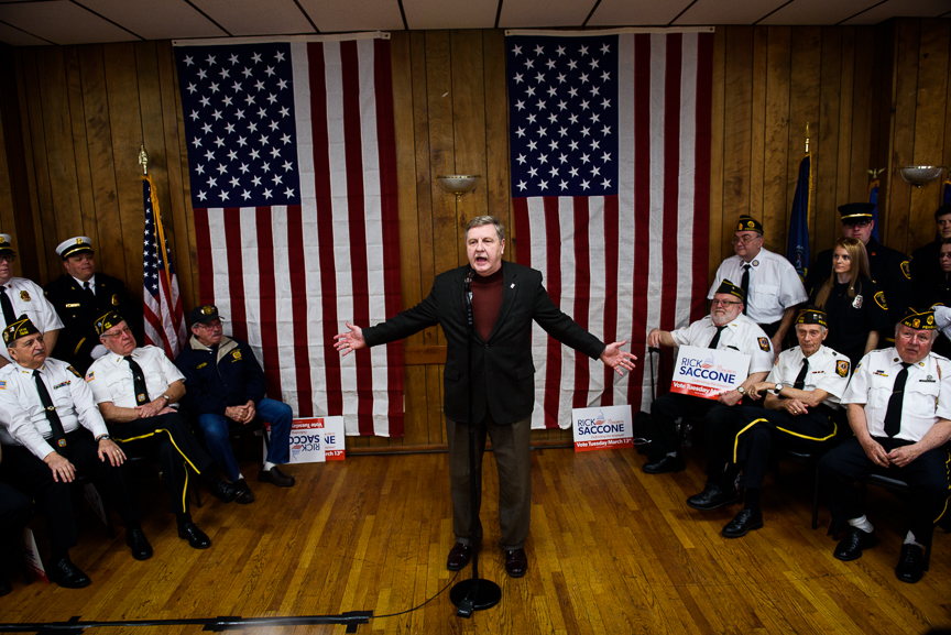 Rick Saccone, the Republican candidate for Pennsylvania's 18th congressional district, speaks to supporters and volunteers during a campaign stop at the Blaine Hill volunteer fire department on Monday, March 12, 2018 in Elizabeth Township, Pa. Saccone was joined by Donald Trump Jr. who joined with his father, President Trump, and his sister, Ivanka, to help campaign for Saccone. 