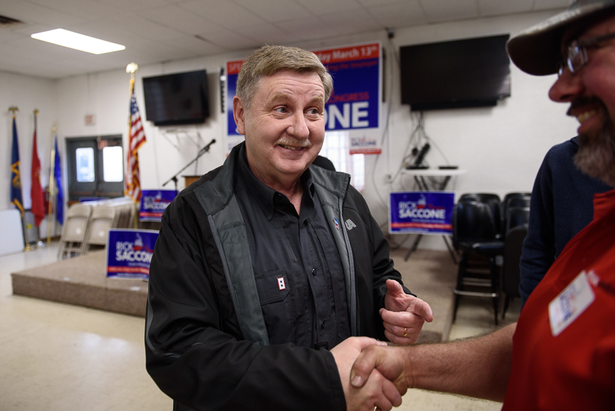 Rick Saccone talks with supporters at the VFW Post 4793 after a campaign rally on March 5, 2018 in Waynesburg, Pa.