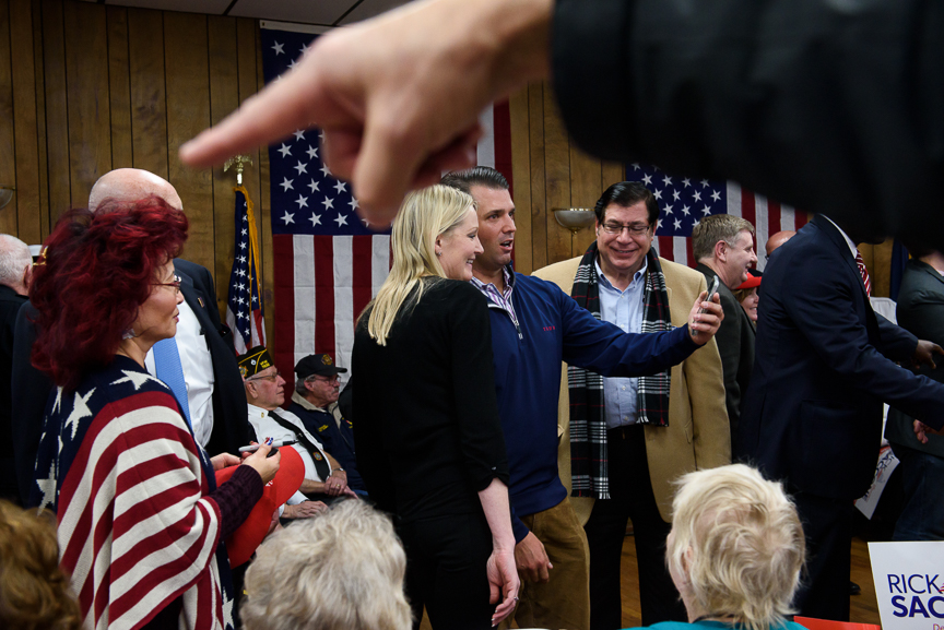 Donald Trump Jr. gets a photo taken after speaking at a campaign rally for Rick Saccone, the Republican candidate for Pennsylvania's 18th congressional district, at the Blaine Hill volunteer fire department on Monday, March 12, 2018 in Elizabeth Township, Pa. Saccone was joined by Donald Trump Jr. who joined with his father, President Trump, and his sister, Ivanka, to help campaign for Saccone.