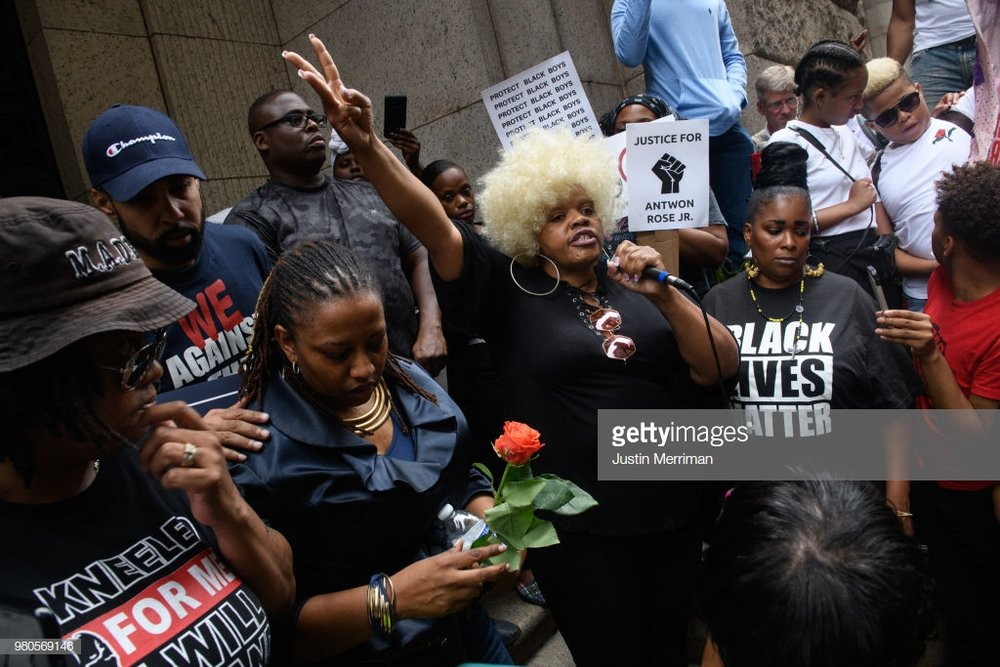 Over 200 people gathered for a rally to protest the fatal shooting of an unarmed black teen at the Allegheny County Courthouse on June 21, 2018 in Pittsburgh, Pennsylvania. Antwon Rose, 17, was killed by an East Pittsburgh police officer Tuesday night when the he ran after police stopped a vehicle he was in that was suspected to be involved in an earlier shooting. The organizers of the rally called on Allegheny County District Attorney Stephen Zappala Jr. to bring criminal charges against the officer who fatally shot Rose. (Photo by Justin Merriman/Getty Images)