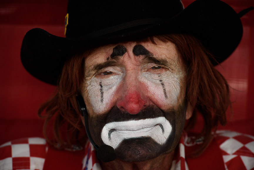 Rodeo clown Lecile Harris, 81, of Collierville, Tenn., sits near his trailer as he waits for the start of the Fort Armstrong Championship Rodeo on Friday, July 13, 2018 at the Crooked Creek Horse Park in Ford City, Pa. Harris has been working in rodeos for 63 years and was inducted into the Pro Rodeo Hall of Fame in 2007.