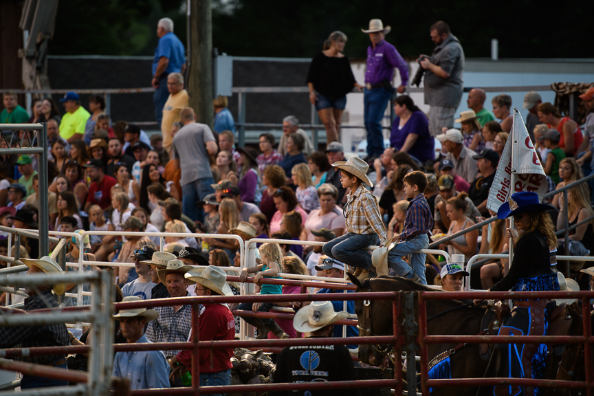 People watch the Fort Armstrong Championship Rodeo on Friday, July 13, 2018 at the Crooked Creek Horse Park in Ford City, Pa.