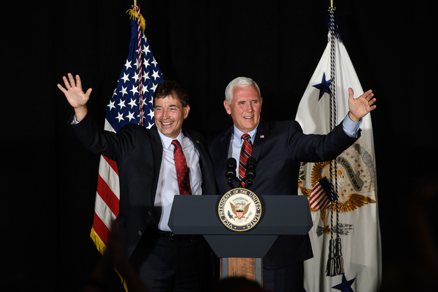 Vice President Mike Pence stands with Republican Congressional candidate Troy Balderson during a rally at the Skylight Banquet Facility on Monday, July 30, 2018 in Newark, Ohio.