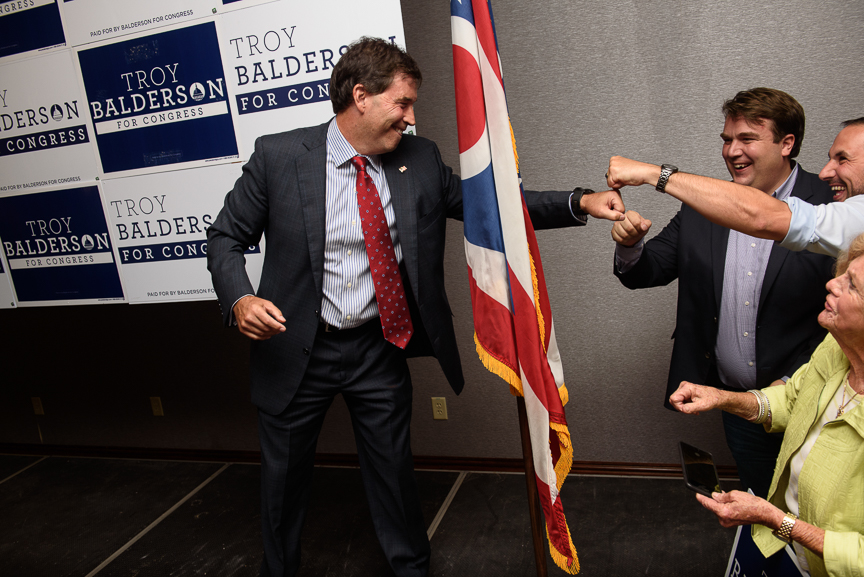 Republican congressional candidate Troy Balderson celebrates after giving his victory speech at his election night party at the DoubleTree by Hilton Hotel on August 7, 2018 in Newark, Ohio. Balderson defeated Democrat Danny OConnor in a widely watched race that is considered a bellwether for November's elections. (Photo by Justin Merriman/Getty Images)