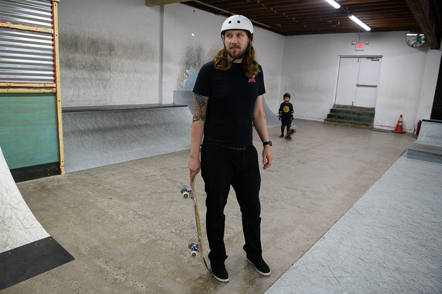 Kerry Weber, 37, owner of Switch and Signal Skatepark prepares to skates in the indoor facility on Sept. 1, 2018 in Swissvale, Pa.
