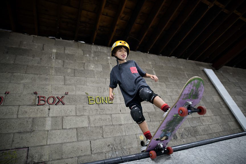 Nico Newton, 7,  of Wilkins Township, skates at Switch and Signal Skatepark on Sept. 1, 2018 in Swissvale, Pa.
