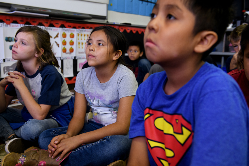 Elementary students learn Navajo at Blanding Elementary School on October 1, 2018 in Blanding, Utah.